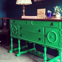 Green buffet painting in chalk paint and glazed.  #antique #buffet #chalkpaint #green #refinished