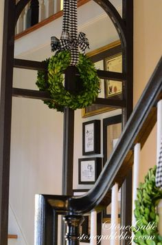 StoneGable: HOME FOR THE HOLIDAYS CHRISTMAS HOUSE TOUR The mirror on the landing is an idea I have been toying with!