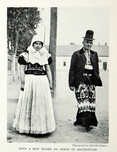 This is an original 1935 black and white halftone print of a Hungarian couple wearing their traditional clothing. CONDITIONThis 78 year old Item is rated Very Chain Stitch Embroidery, Learn Embroidery, Embroidery Ideas, Folk Costume, Costumes, Free Black, Black And White, Stitch Head, Hungarian Embroidery