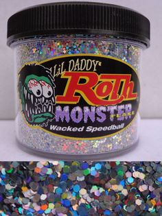 monster whacked speedball trippin roth metal flake 2oz jar hot rod custom paint #lildaddyroth