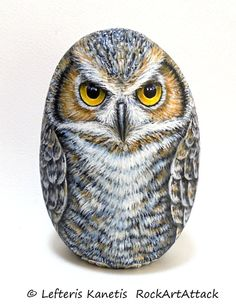 Great Owl Painted Rock by RockArtAttack