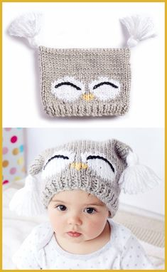 Free Knitting Pattern for I'm a Hoot Hat - This pattern for an owl baby hat come. Free Knitting Pattern for I'm a Hoot Hat - This pattern for an owl baby hat comes with a free video tutorial. Sizes: months and months. Designed by Bernat. Baby Hat Knitting Pattern, Baby Hats Knitting, Crochet Baby Hats, Knitting Patterns Free, Free Knitting, Knitted Hats, Crochet Patterns, Owl Patterns, Free Pattern