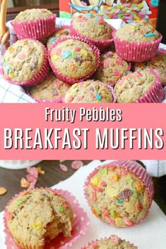 Quick and easy Fruity Pebbles Breakfast Muffins – a family favorite and the perfect grab-and-go breakfast or anytime snack! Great for a make-ahead breakfast. These fun, colorful, and nutritious breakfast muffins make both Mom and kids happy. #fruitypebbles #cereal #breakfast #breakfastmuffin #easybreakfast #healthybreakfast #ad #pebblescereal @pebblescereal