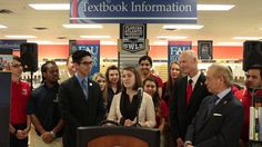 Governor Rick Scott highlighted his proposal to eliminate the sales tax on college textbooks, which will save Florida students $41 million a year, as well a proposal to invest $23 million for summer classes to be covered under the Bright Futures Scholarship program.
