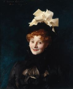 Redheaded woman in hat.  John Singer Sargent: Portrait of Madame Paul Escudier (ca. 1882)