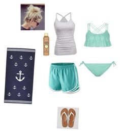 """""""To The Beach"""" by rainbowchanrawr on Polyvore featuring NIKE, American Eagle Outfitters, Sun Bum, New Look, beach and summer2016"""