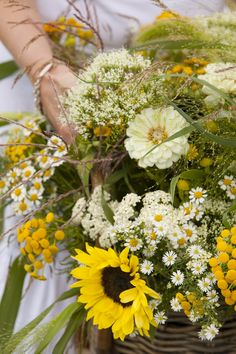 A bouquet with field flowers. Yellow & white.