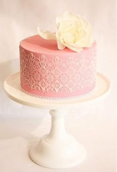 Would be really amazing if you could use pink ganache or melted chocolate for the icing, then do the outside lace detail in a wrap around white chocolate design.