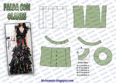 KiVita MoYo : FALDA CON OLANES Clothing Patterns, Dress Patterns, Sewing Patterns, Diy Vetement, Modelista, Muslim Dress, Pattern Fashion, Dressmaking, Diy Clothes