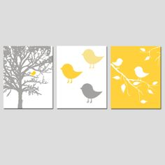 Modern Bird Trio - Set of Three 8x10 Prints - Yellow, Gray, Pink, Mint Green, and More - Nursery Decor. $55.00, via Etsy- Great for a baby CHICK room! :) would do this in purple!