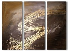 Abstract art canvas painting     brown gold . Wall art paintings