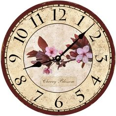 "Cherry Blossom Clock. Click ""visit"" to see this clock and many more on our Etsy shop page (Time Flies Clocks)"