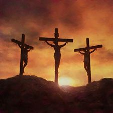 three crosses on a hill tattoo | Three crosses that stood on a hill