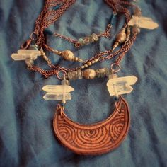 crescent moon quartz galactic necklace by OurFolkLife on Etsy,