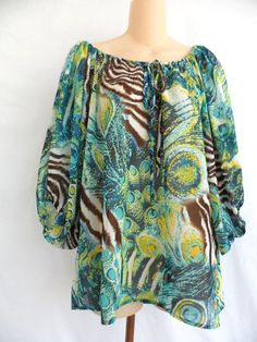 Romeo-Juliet-Couture-Sheer-Batwing-3-4-Sleeve-Blouse-Animal-Print-Size-Large