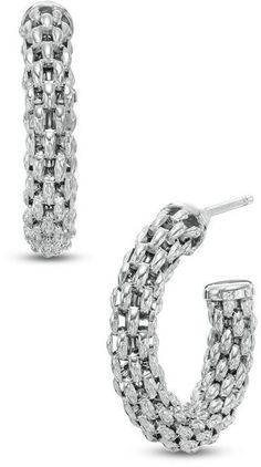 Zales Mesh J-Hoop Earrings in Sterling Silver 6AT1m5YuKl