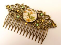 Large rhinestone hair comb in bronze with beautiful flower motif, summer hair comb, bridal hair accessories, flower hair comb by Schmucktruhe on Etsy https://www.etsy.com/listing/192298417/large-rhinestone-hair-comb-in-bronze