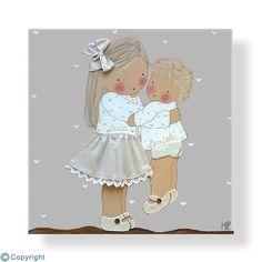 Cuadro infantil personalizado: Niña con su hermanito (ref. 12083-06)