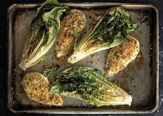 Parmesan Chicken with Caesar Roasted Romaine by Rozanne Gold, bonappetit: Make it in 20 minutes. #Chicken #Romaine #Rozanne_Gold #bonappetit