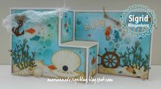 Card by Sigrid Klingenberg (051617) /additional information in comments/  using Marianne Design (dies) Craftables Coral, Fish, Mini Alphabet & Garland, Scallop; Creatables Anchor, Porthole  [One-Step]