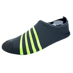 Water Shoes Wave Pool Beach Swim Aqua Socks Yoga Mens Womens Exercise Sports Slip On for Santimon Simply Stripe Grey Women 8 US ** Be sure to check out this awesome product.