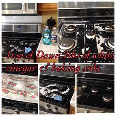 How To Clean Black Range Stove Top. Mix 1tsp of Dawn and 2 Tbsp of White Vinegar. Let it soak about 15 min with a hot wet rug on top. Later add 1/2 a cup of baking soda scrub and rinse with water and white vinegar!..