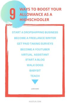 Here are 9 ways you can boost your allowance as a highschooler and get a head start on your entrepreneurship journey. You never know where these side jobs will take you.   #takechances #hustlelife #hustlr #money #getrich