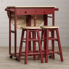 kitchen island table wood set cart portable rolling bar drop leaf with 2 stools