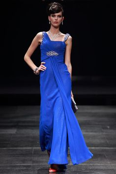 Royal Blue Beads & Stones Working Chiffon Satin Column Evening Dresses