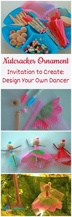 Nothing says Christmas like The Nutcracker!  The first post in a series to Plan the Perfect Nutcracker Holiday Party.  This Invitation to Create is the perfect activity for your kids holiday party at home or preschool, and the Nutcracker Ornaments make awesome party favors.  You can even do it as a simple afternoon holiday craft for your toddler or preschooler.