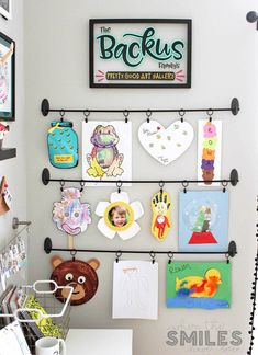 Art Display: Simple, Inexpensive, & No Damage! Easy DIY Kids Art Display: Simple, Inexpensive, & No Damage! Fintorp Ikea, Easy Diys For Kids, Kids Diy, Artwork Display, Art Wall Kids Display, Preschool Art Display, Hanging Kids Art, Kids Art Storage, Display Ideas