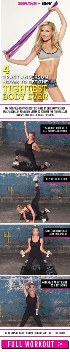 Celebs like Taylor Swift and J.Lo swear by the Tracy Anderson Method — an exercise technique designed by the fitness guru. Now you can try her full-body workout with this routine! Tracy Anderson Workout, Tracy Anderson Method, Senior Fitness, Fitness Tips, Health Fitness, Fitness Challenges, Fitness Gear, Yoga, Hips Dips