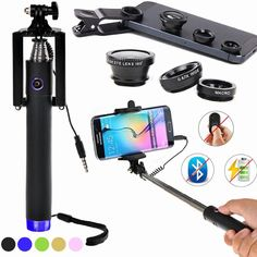 Find More Mobile Phone Lenses Information about 2 in 1 Selfie Kit for Apple iPhone Samsung Smart Phones Selfie Stick Pole + Fish Eye Len + Marco Lens+Wide Angle Lens Detachable,High Quality len,China lens cleaning kit Suppliers, Cheap lens hood from Geek on Aliexpress.com