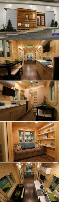 The Dragonfly tiny house from Hillside Getaway. - Home Decor Tiny House Plans, Tiny House On Wheels, Tiny House Nation, Tiny House Movement, Tiny House Living, Small Living, Small Places, Tiny Spaces, Tiny House Design