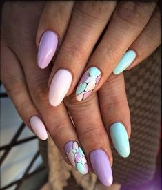 Fashionable pastel manicure and nail design 2018 in the photo. Manicure in pastel colors for short, medium nails. Easter Nail Designs, Nail Art Designs, Crazy Nails, Love Nails, Stylish Nails, Trendy Nails, Spring Nails, Summer Nails, Uñas Jamberry