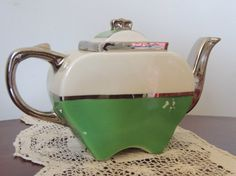 Vintage Fraunfelter China Teapot / Art Deco Teapot by MadameMarcie, $44.00