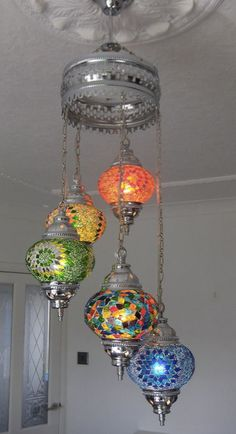 Chandelier hanging lamp hanging light 5 ball by BeautyofTurkey Turkish Lanterns, Turkish Lights, Turkish Lamps, I Love Lamp, Stained Glass Lamps, Hanging Lights, Diy Hanging, Brass Lamp, Decorative Floor Lamps