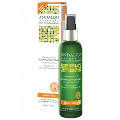 Andalou Naturals Brightening Illuminating Toner has Clementine and Vitamin C. Organic skincare that energizes and fixes skin tone and texture. At Hello Charlie!