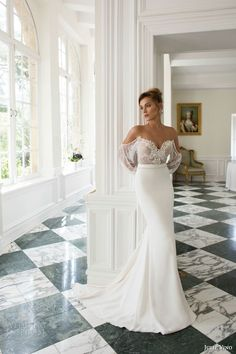 julie vino bridal fall 2015 provence emma sheath wedding off shoulder long sleeves front full view