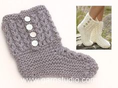 Walk in the Clouds / DROPS - Knitted slippers with cables and garter stitch in DROPS Eskimo. - Free pattern by DROPS Design Drops Design, Knitted Booties, Knitted Slippers, Knitted Hats, Knitting Patterns Free, Free Knitting, Crochet Patterns, Knit Slippers Free Pattern, Point Mousse