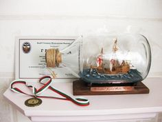Excellent model of  Columbus flagship Santa Maria, made in a bottle. The model has gold medal from VII open competition for scale models, Sof...