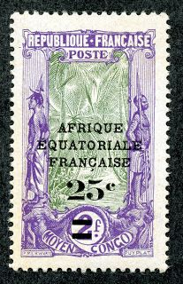 Middle Congo  1924 Scott 51 25c on 2fr violet & gray green Surcharged with new values