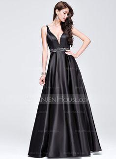5e62a153bd3b   157.49  A-Line Princess V-neck Floor-Length Satin Prom Dresses With  Beading (018075876)