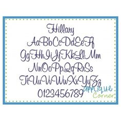 Hillary Embroidery Font