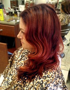 Beautiful hand painted rich red highlighting in the ecaille  technique (deeper at the base with natural hand painted highlights) with a beautiful Old Hollywood Wave. GOLDWELL Color  Hair Color and Finish by David Frohmberg, Salon Tease