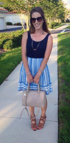 Blue Eyelet and Stripe Dress   thetrendyprofessional.com