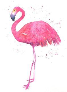 Knalroze flamingo aquarel-flamingo painting-flamingo