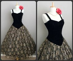 Vintage does 50s VLV Bombshell Black Gold Illusion Lace Swing Cocktail Party Prom Dress