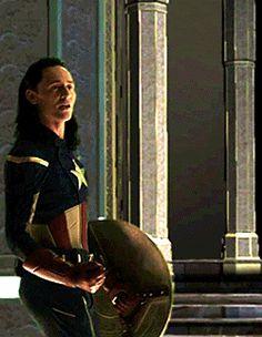 Tom Hiddleston as Loki  dressed as Captain America