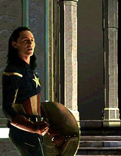 Tom Hiddleston as Loki in Captain America suit